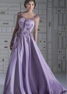 короткое лавандовое вечернее платье