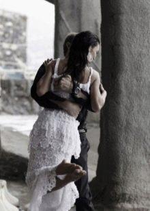 Платье свадебное вязанное из кругов крючком