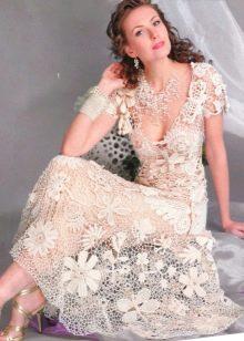Платье свадебное из мотивов крючком