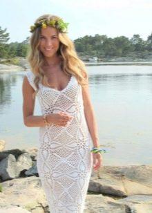 Дизайнерское вязанное платье свадебное крючком из мотивов