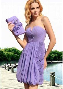 Сиреневое вечернее платье с юбкой колокол