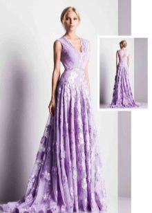 Сиреневое вечернее платье кружевное