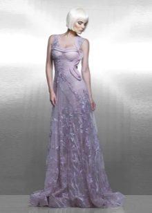 Кружевное вечернее сиреневое платье