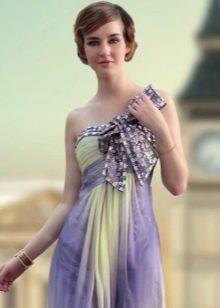 Вечернее сиреневое платье с бантом
