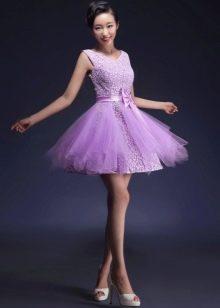 Сиреневое короткое вечернее платье пачка