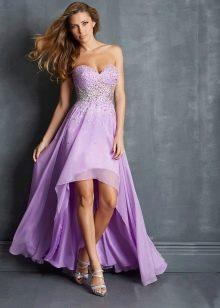 Сиреневое вечернее платье корроткое спереди, длинное сзади
