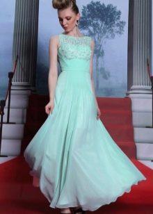 Мятное вечернее платье