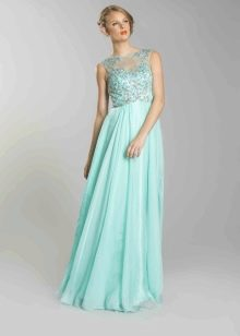 Вечернее платье мятного цвета - блондинка