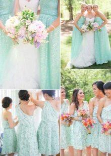 Мятные платья для подружек невесты
