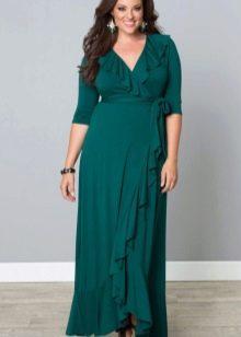 Зеленое платье вечернее платье для полных с рукавом