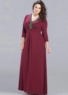 Вечернее платье для полных бордовое