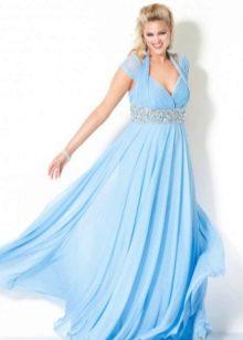 Голубое вечернее платье для полных