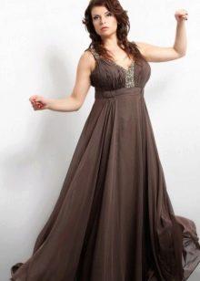 Коричневое вечернее платье для полных