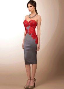 Платье вечернее серое с красным кружевом