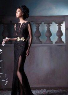 Черное вечернее платье из ажура