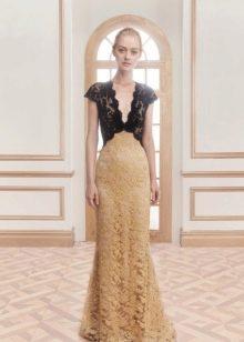 Длинное платье вечернее из разных видов гипюра