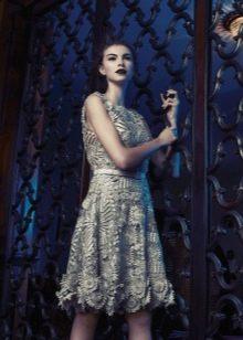 Короткое платье вечернее с крупным ажуром