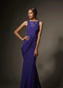 Синее платье вечернее с ажурной вставкой