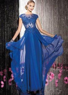 Платье вечернее из гипюра синее