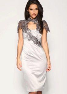 Платье вечернее белое с кружевом