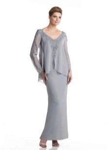 Вечернее платье для мамы жениха с длинными рукавами