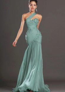Вечернее платье русалка с одним плечом