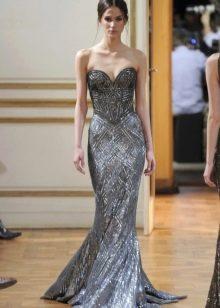 Вечернее платье русалка с бисером