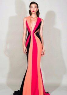 Полосатое вечернее платье русалка от Зухаира Мурада