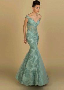 Вечернее платье русалка зеленое