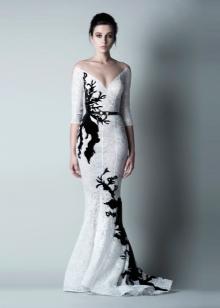 Вечернее платье русалка белое