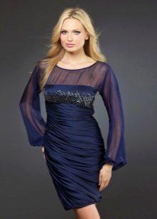 Вечернее платье короткое с шифоновыми рукавами