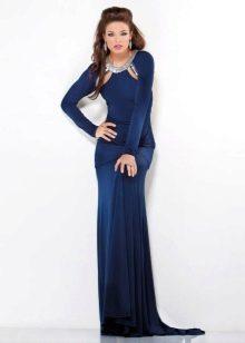 Синее вечернее платье для торжества