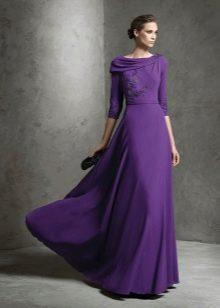 Сиреневое платье для зрелых женщин вечернее
