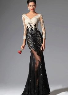 Черное платье вечернее с ажурными рукавами
