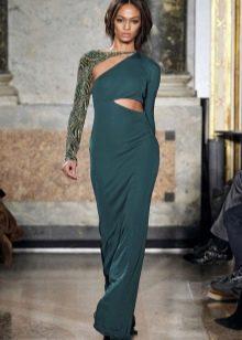 Вечернее платье зеленое в пол с рукавами