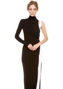 Вечернее черное платье в пол с одним рукавом