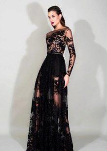 Вечернее платье в пол с ажурным рукавом