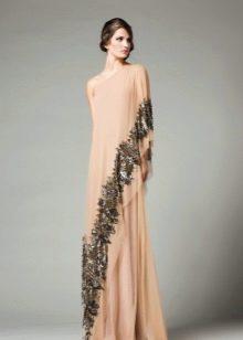 Платье на одно плечо вечернее в пол