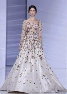 Вечернее платье в пол пышное с рукавом