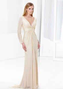 Вечернее платье в пол с прозрачным рукавом