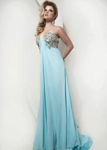 Вечернее платье в греческом стиле с многослойной шифоновой юбкой