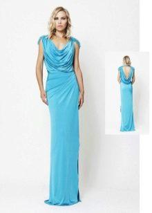 Синее вечернее платье в греческом стиле