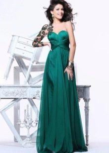 Вечернее платье в греческом стиле без бретелей