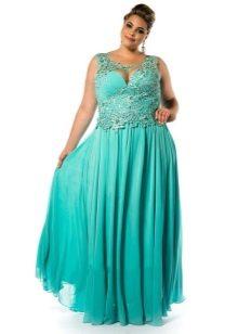 Зеленое платье для выхода для полных