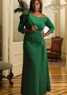 Вечернее зеленое платье для полных в пол