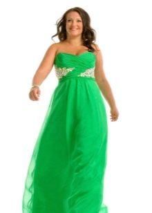 Вечернее ярко-зеленое платье для полных