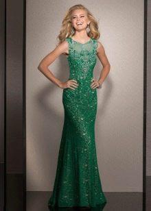 Вечернее зеленое платье с кружевным верхом