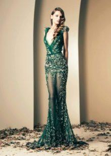 Вечернее зеленое платье кружевное в стиле нюд