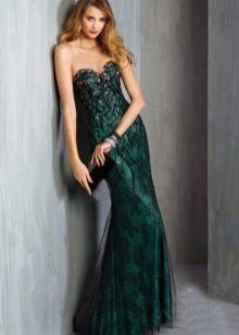 Платье зеленое вечернее с кружевом