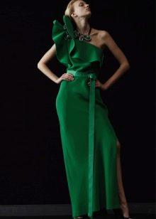 Вечернее зеленое платье с воланами